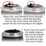 Fotodiox Pro Lens Mount Adapter - Olympus Zuiko (OM) 35mm SLR Lens to Sony Alpha A-Mount (and Minolta AF) Mount SLR Camera Body