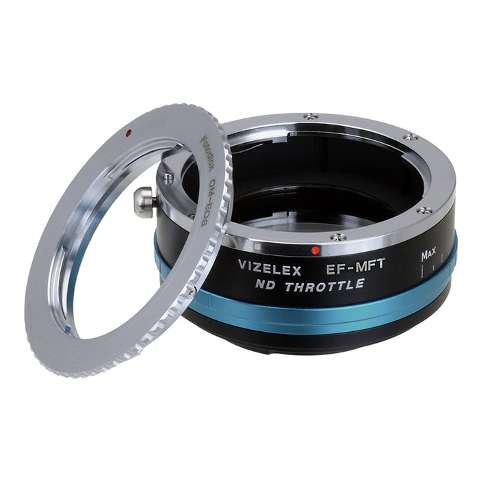Vizelex ND Throttle Lens Mount Adapter - Olympus Zuiko (OM) 35mm SLR Lens to Micro Four Thirds (MFT, M4/3) Mount Mirrorless Camera Body, with Built-In Variable ND Filter (1 to 8 Stops)