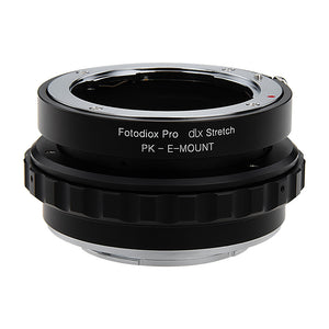 Fotodiox DLX Stretch Lens Mount Adapter - Pentax K Mount (PK) SLR Lens to Sony Alpha E-Mount Mirrorless Camera Body with Macro Focusing Helicoid and Magnetic Drop-In Filters
