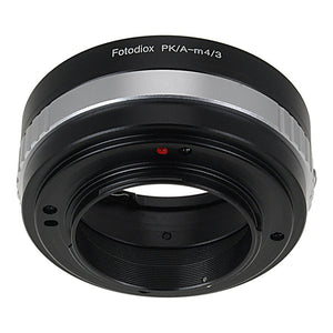 Fotodiox Lens Mount Adapter - Pentax K Mount (PK) SLR Lens to Micro Four Thirds (MFT, M4/3) Mount Mirrorless Camera Body, with Built-In Aperture Control Dial