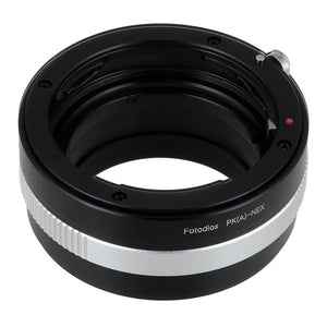 Fotodiox Lens Mount Adapter - Pentax K AF Mount (PKAF) DSLR Lens to Sony Alpha E-Mount Mirrorless Camera Body with Built-In Aperture Control Dial