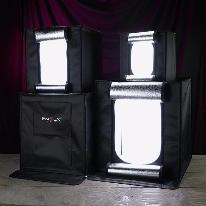 Fotodiox Pro LED Studio-in-a-Box for Table Top Photography - Includes light tent, Integrated LED Lights, carrying case and four backdrops