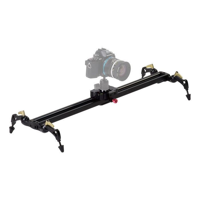 Fotodiox Pro SlideCam - Video Slider Stabilizer, DSLR Camera Track Slider, Linear Stabilization Rail System With Ball-Bearing Slide Mechanism, Adjustable Legs and Carrying Case
