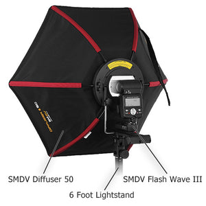 SMDV Diffuser 50 Kit 1 - Kit includes 1x Flash Diffuser 50, 1x SMDV Flash Wave III Tranmitter, 1x SMDV Flash Wave III Reciever and 1x 6 foot light stand; Smart Softbox for Speedlite Flash for Canon, Nikon, Pentax, Olympus and Nissin Flash