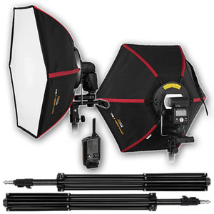 SMDV Diffuser 50 Kit 2 - Kit includes 2x Flash Diffuser 50, 1x SMDV Flash Wave III Transmitter, 2x SMDV Flash Wave III Recievers and 2x 6 foot light stands; Smart Softbox for Speedlite Flash for Canon, Nikon, Pentax, Olympus and Nissin Flash