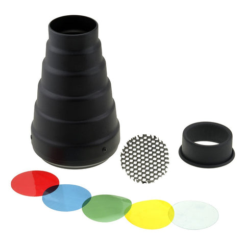 Fotodiox Snoot with 20 Degree Grid and 4 Color Gels for Balcar Strobe light Alien Bees Strobe Light