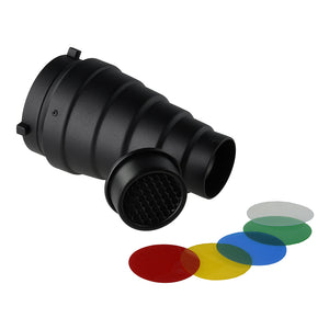 Fotodiox Snoot with 20 Degree Grid and 4 Color Gels for Bowens & Calumet Travelite Strobe Lights