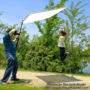 Pro Studio Solutions Boom Sun Scrim - Collapsible Frame Diffusion & Silver/White Reflector Kit with Boom Handle and Carry Bag