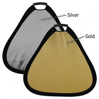 "Fotodiox 24"" 2-in-1 Collapsible Teardrop Reflector Disc - Silver / Gold"