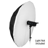 "Fotodiox Pro 16-rib, 60"" Black and Silver Reflective Parabolic Umbrella, with Diffusion Cover"