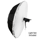 "Fotodiox Pro 16-rib, 72"" Black and Silver Reflective Parabolic Umbrella, with Diffusion Cover"