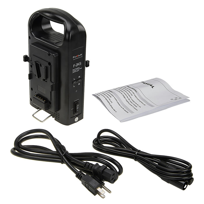 Fotodiox Dual Position Battery Charger for Two 14.8V Li-Ion V-Mount Batteries - Power Supply Stand with XLR DC Output