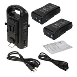 Dual Position Battery Charger Kit with Two 14.8V Li-Ion V-Mount Batteries