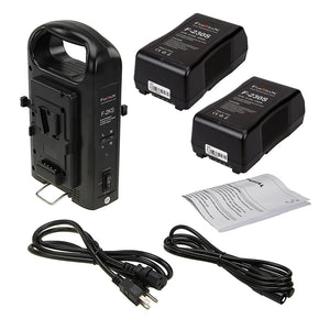 Fotodiox Dual Position Battery Charger Kit with Two 14.8V Li-Ion V-Mount Batteries - Power Supply Stand with XLR DC Output for Fotodiox Pro, FlapJack & Factor Series LED Lights