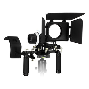 WonderRig Elite by Fotodiox, Premium Grade Professional Video Rig, Shoulder Support Stabilizer, with Follow Focus, Matte Box and Shoulder Accessory Support Pad, Expandable 15mm Rod System for DSLRs, Mirrorless Cameras and Camcorders