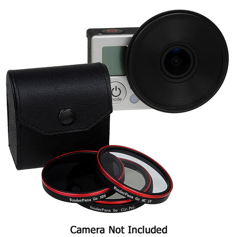 Fotodiox Pro WonderPana Go H3 Naked Standard Kit - GoTough Filter Adapter System f/ GoPro HERO3 (Not HERO3+) Naked Camera Without Case with Three Filters (UV, CPL, ND8)