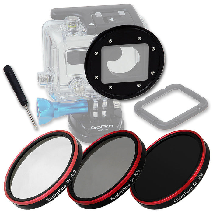 Fotodiox Pro WonderPana Go H3 Neutral Density Kit - GoTough Filter Adapter System f/ GoPro HERO3 Skeleton or Underwater Housing with Three Neutral Density Filters (ND2, ND4, ND8)