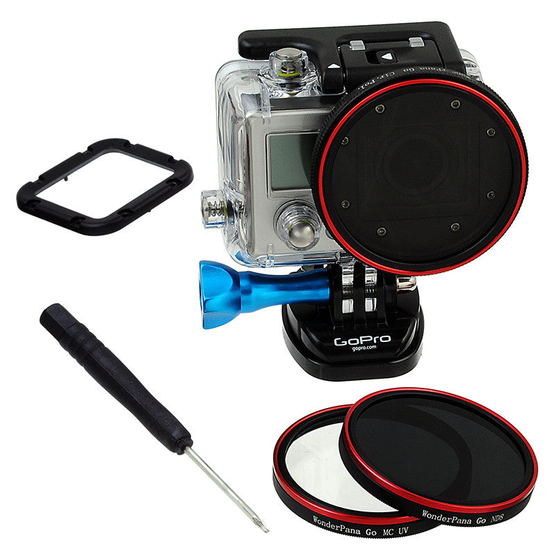 Fotodiox Pro WonderPana Go Standard Kit - GoTough Filter Adapter System with Three Filters (UV, CPL, ND8) f/ GoPro HERO3 Skeleton or Underwater Housing Case *Not HERO3+ Slimcase*