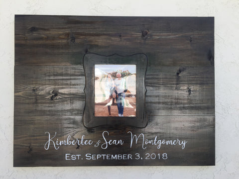 Wood Framed Plank Wedding Guestbook