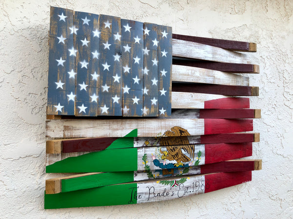 American / Mexico Reclaimed Barrel Flag