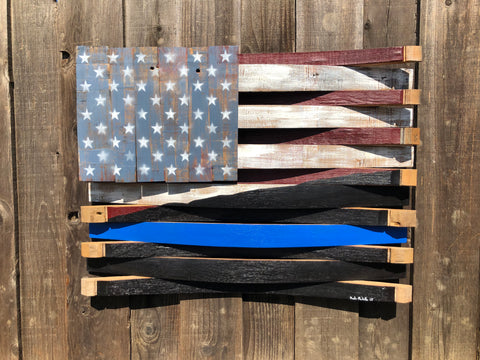 American / Thin Blue Line Blended Barrel Flag
