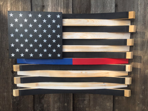 Thin Blue/Red Line American Flag