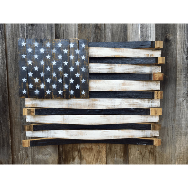 Black and White Oak Barrel American Flag