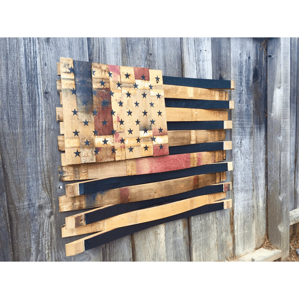 Natural Barrel American Flag