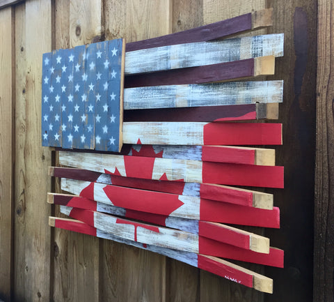 American - Canada Wine Barrel Flag