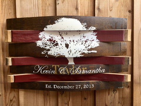 Oak Tree Silhouette Custom Wedding Names and Date