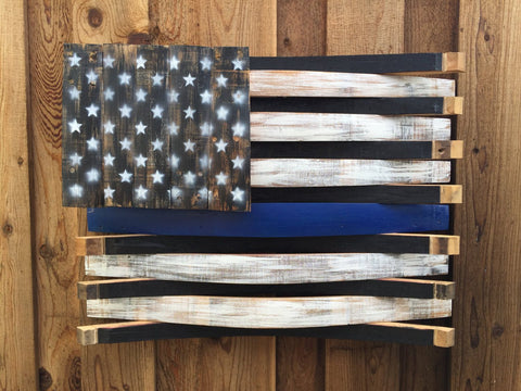 Thin Blue Line American Barrel Flag