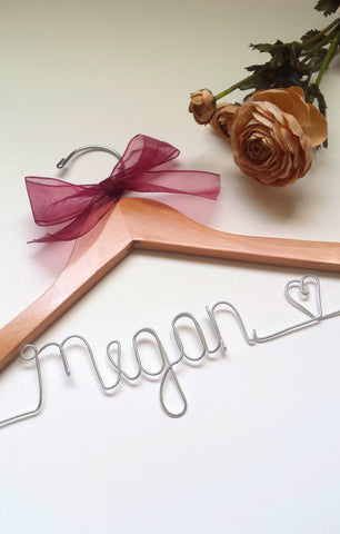 Custom first name wedding hanger for bridesmaids