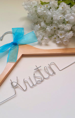 Custom first name wedding day hanger for bridesmaids
