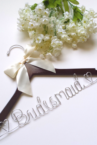 Bridesmaid hanger with hearts