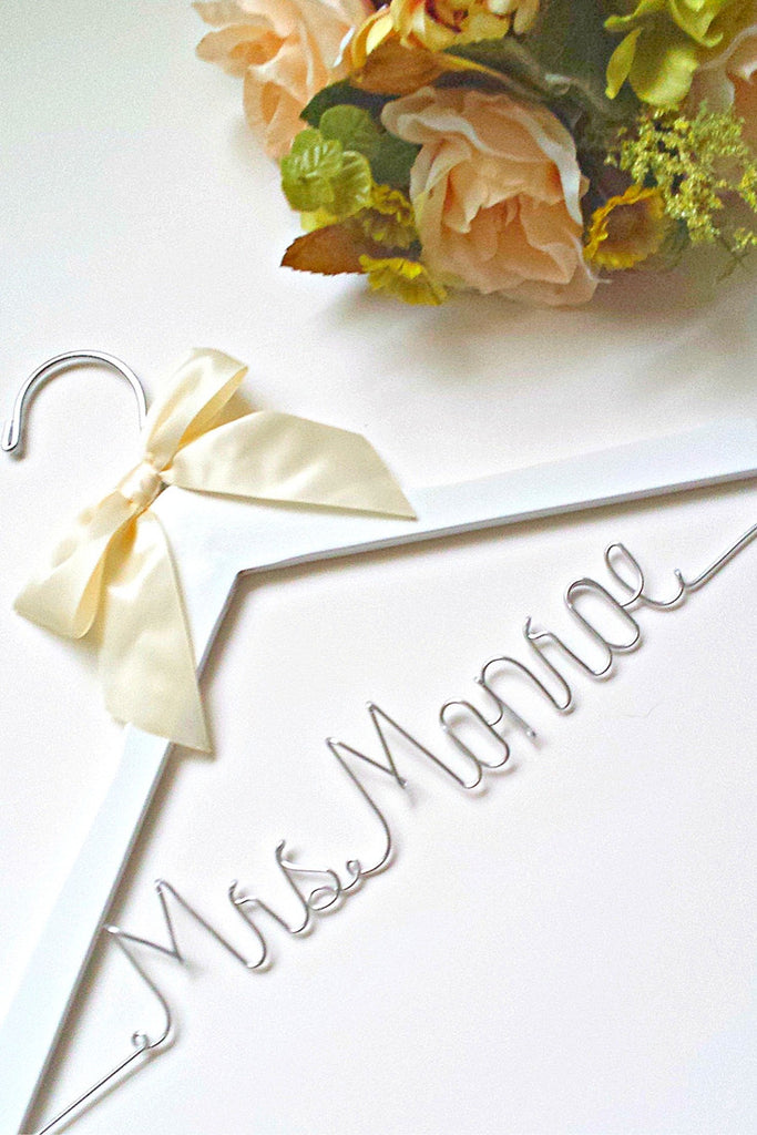Custom bridal wedding hanger - With the brides future last name