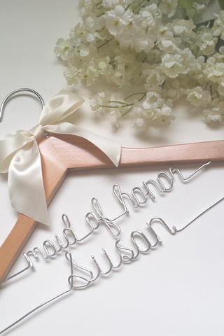 Custom two-tier wedding hanger for the maid of honor