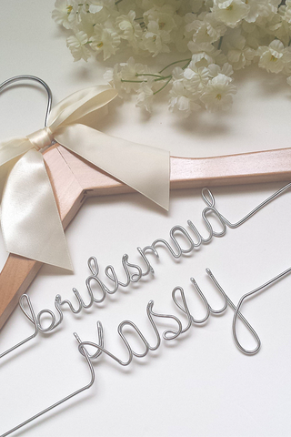 Custom two-tier wedding hanger for the bridesmaid