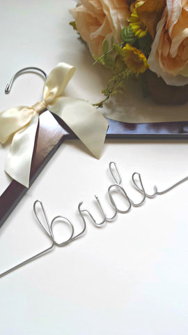 Handcrafted bride's wedding hanger