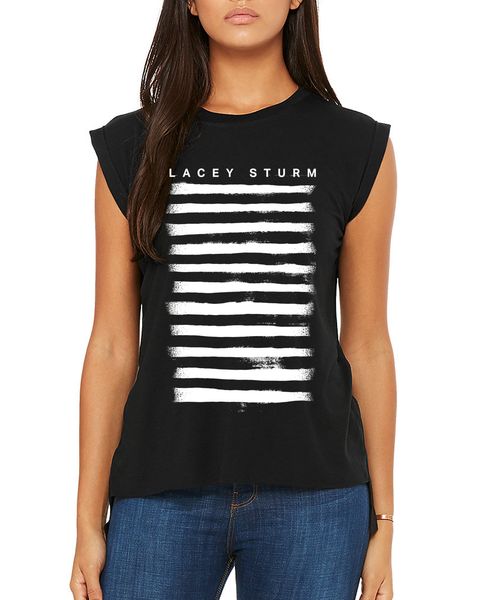 Ladies Stripes Muscle Tee