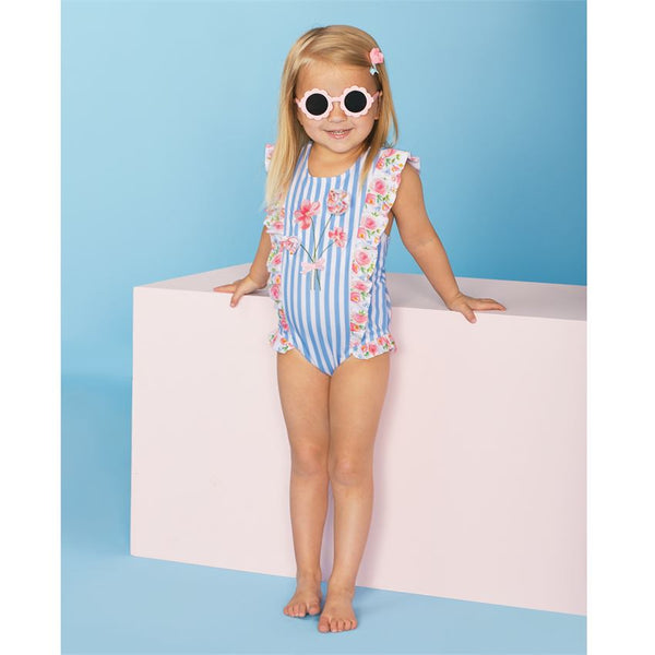 Mudpie Striped Rosebud Swimsuit