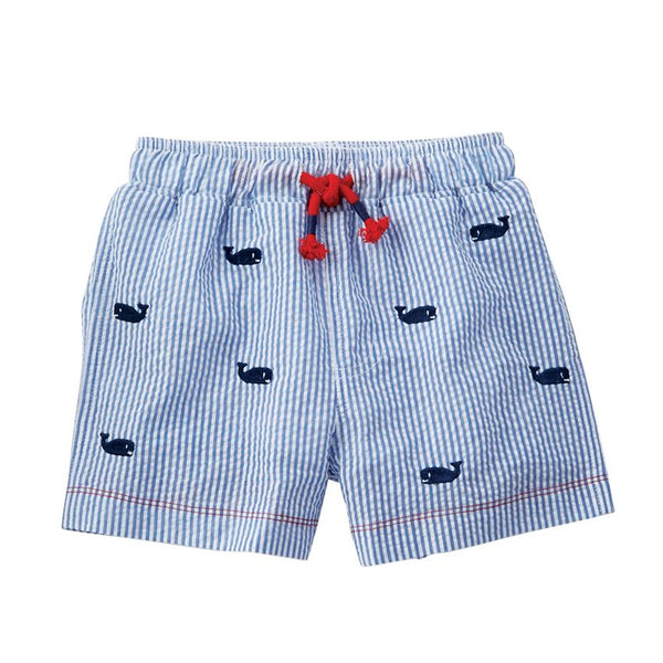Mudpie Whale Seersucker Swim Trunks