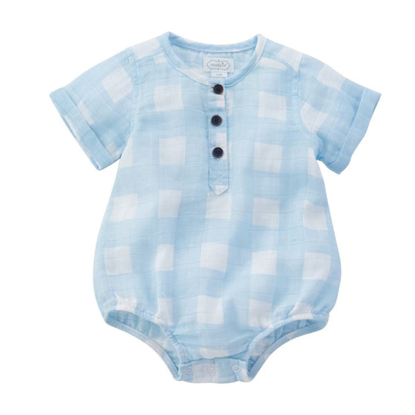 Mudpie Light Blue Muslin Gingham Bubble
