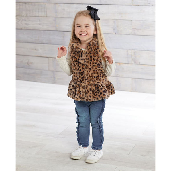 Mudpie Brown Leopard Faux Fur Vest