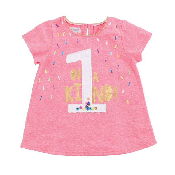 Mudpie ONE of a Kind Pink Birthday Shirt