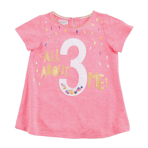 Mudpie All About 3 Me Pink Birthday T-Shirt