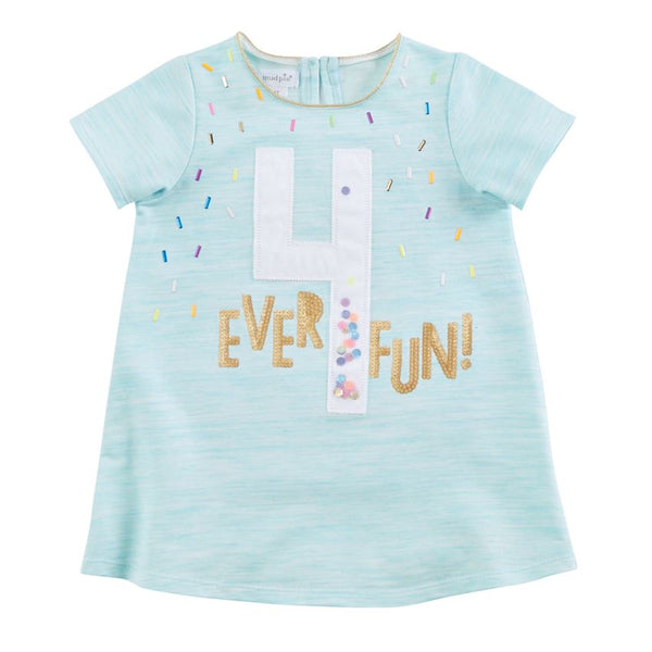 Mudpie FOUR Ever Fun Blue Birthday T-Shirt