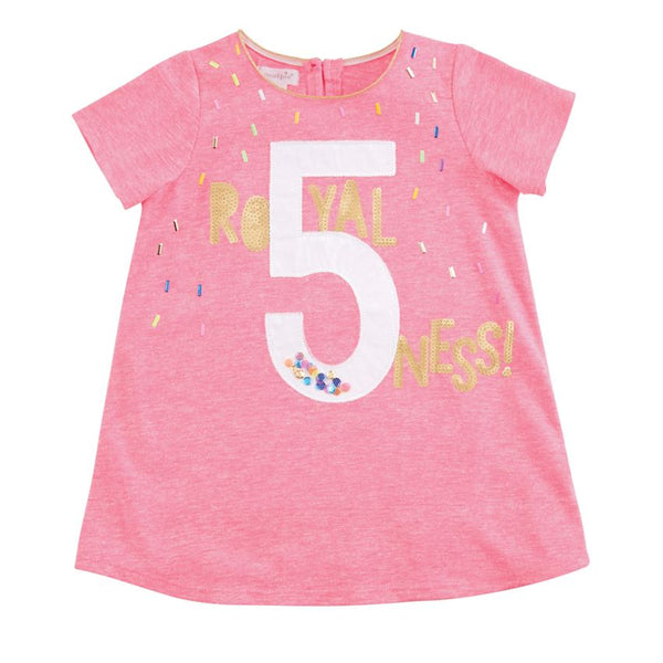 Mudpie Royal FIVE-ness Pink Birthday Shirt