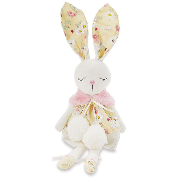 Mudpie Yellow Floral Linen Bunny Doll