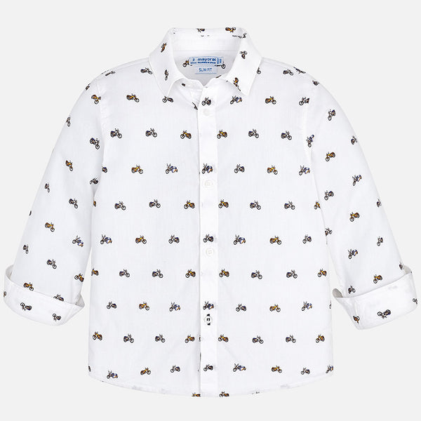 Mayoral Motorcycle Print Collared Shirt