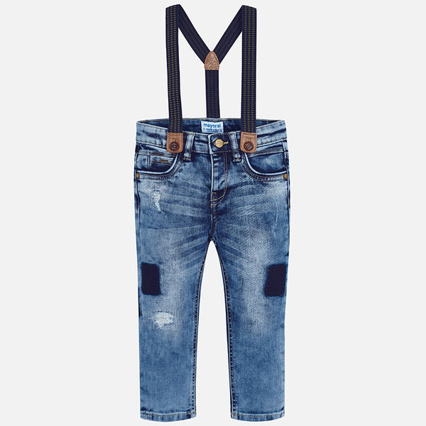 Mayoral Jeans with Detachable Suspenders